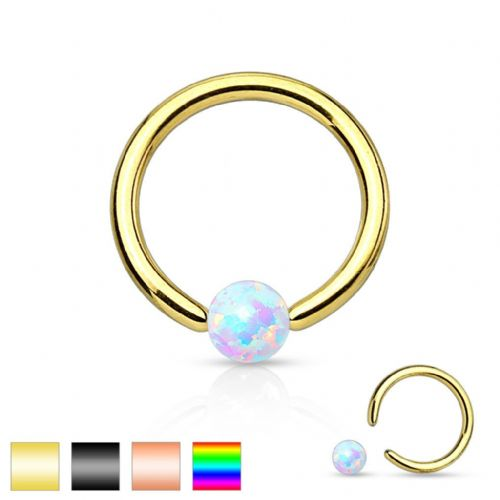 Ball Closure Ring with Opal  Gem Ball